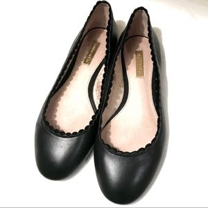 Louise et Cie Black Leather Ballet Flats Scallop 6